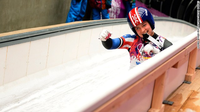American Erin Hamlin gestures after one of her runs in the luge on February 11.