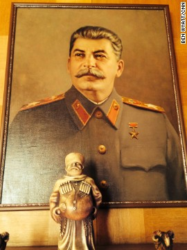 Born Iosif Vissarionovich Dzhugashvili in 1879, Stalin went on to become one of the most powerful men in history, presiding over the Soviet Union from the late 1920s to his death from a stroke in 1953. He was not a fan of portraits, however, meaning this painting -- which sits above the fireplace in the dining room -- was not hung until after his demise.