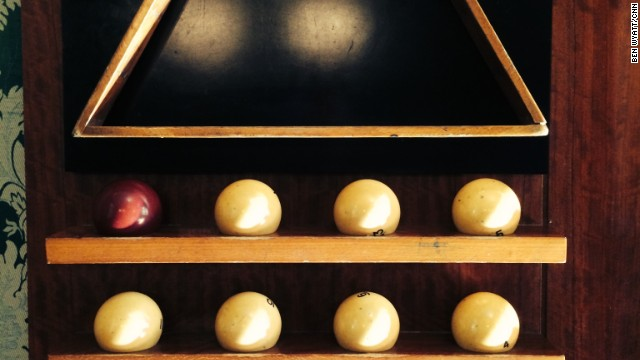The autocratic ruler of the U.S.S.R enjoyed playing chess, smoking his pipe and watching movies. But our tour guide says his favorite hobby was playing billiards. These balls are replicas of those that were made of ivory and that Stalin played with.
