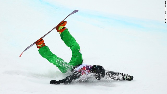 Snowboarder Seamus O'Connor of Ireland crashes during the men's halfpipe competition on February 11.