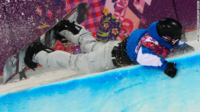 France's Johann Baisamy crashes in the men's halfpipe semifinals on February 11.