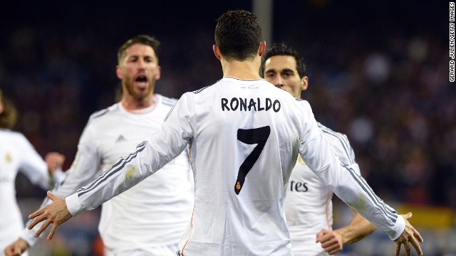 Cristiano Ronaldo celebrates his early goals as Real Madrid progressed to their third Copa del Rey final in four years.