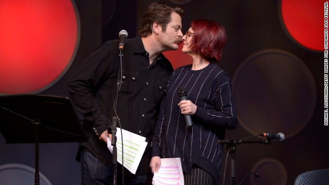 "<a href='http://www.youtube.com/watch?v=IImEd__4sGU' target='_blank'>Nick Offerman's key to Megan Mullally's heart</a>: ""If you're in a relationship, you should make gestures to your significant other. I always try to make Megan a card or a gift. Cards are not that hard. ... Go to the printer. There's paper inside the printer. Discern how to get the paper out of the printer. Take one sheet, fold it in half, draw a heart on it, sign your name, write I love you. A bonus tip is to go outside and get a little piece of nature: a shell, a leaf ... some bark. Adhere that piece of nature to the center of the heart, and then get stretched out, because you're going on a ride to the realm of coitus."""