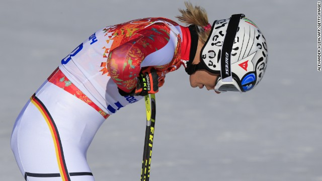 Germany's Maria Hoefl-Riesch catches her breath after her downhill run.
