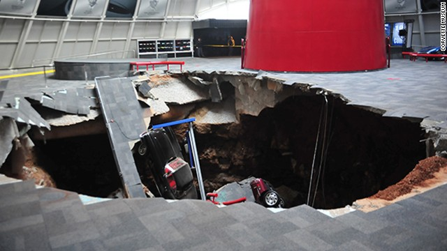 Eight Corvettes fell into a sinkhole that opened up beneath a section of the National Corvette Museum in Bowling Green, Kentucky, on Wednesday, February 12. The sinkhole was about 40 feet wide and 25-30 feet deep. Click through the gallery to see other sinkholes that have been in the news.