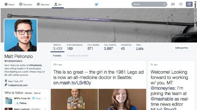 Mashable assistant features editor Matt Petronzio spotted on Tuesday this update to his Twitter profile page.