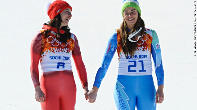 Introducing Sochi's history women ... Switzerland's Dominique Gisin (left) and Slovenia's Tina Maze.