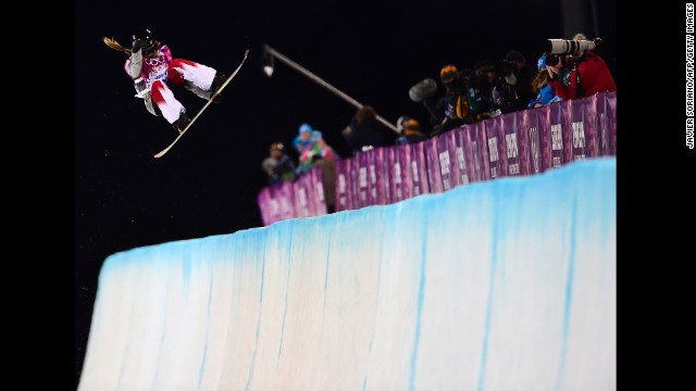 Canada's Alexandra Duckworth competes in the women's halfpipe semifinals on February 12.