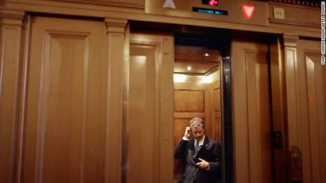Sen. Rand Paul boards an elevator after attending a Republican caucus meeting in the Capitol in July 2011.