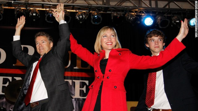 Rand Paul, his wife, Kelley, and son wave to supporters during an election night party in November 2010, in Bowling Green, Kentucky, celebrating his Senate victory.