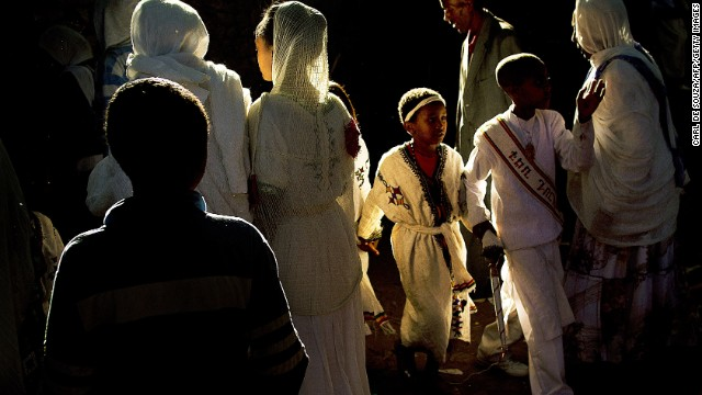 The procession concludes at the Fasilides Bath, a UNESCO heritage site that was built in 1632 for King Fasil. Once they've arrived, worshipers hold an all-night vigil.