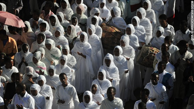 During Timket, congregants don traditional white robes.