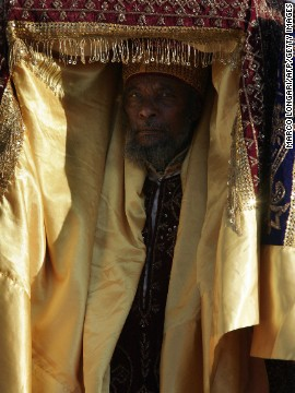 The tabot is wrapped in cloth the day before Timket. The Ethiopian Orthodox Christian priests then carry the relics on their head through the streets.