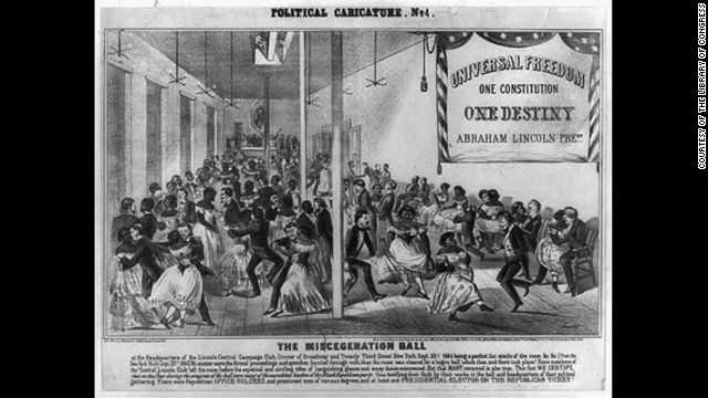 "The ""Miscegenation"" pamphlet hoax spurred anti-abolitionist political cartoons during the Civil War like this one, showing white officials dancing with African-American women at the ""Miscegenation Ball."""