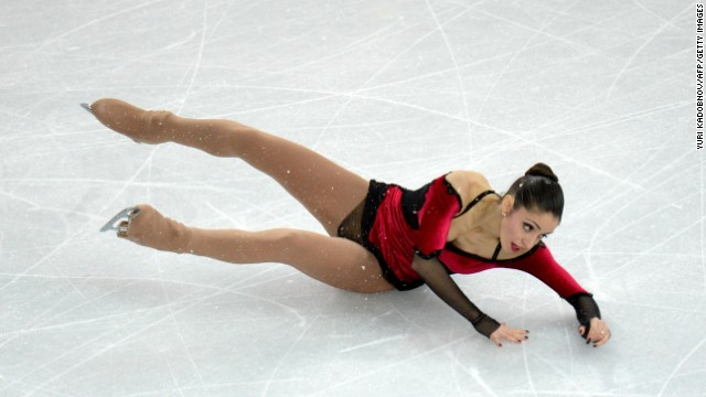 Italy's Stefania Berton falls as she performs with Italy's Ondrej Hotarek during pairs figure skating on February 12.