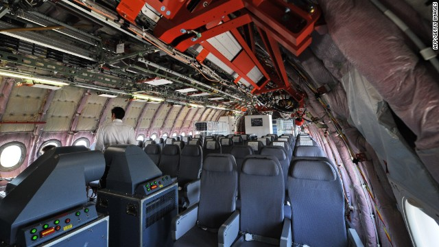 The interior of the Airbus. It's the airplane's first full display in an international trade show as the European jet-maker seeks Asian orders.