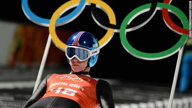 Ski jumper Anders Fannemel of Norway gets into position on February 12.