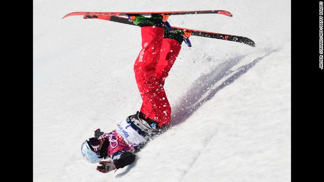 Nicholas Goepper of the United States crashes in the men's slopestyle February 13.