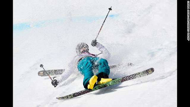 Finland's Aleksi Patja crashes in the men's slopestyle.