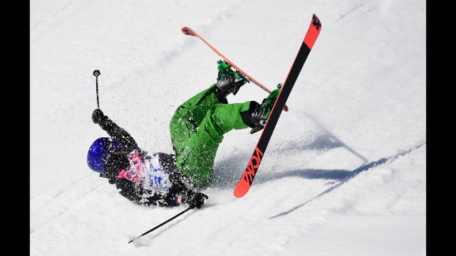 Italy's Markus Eder crashes in the men's slopestyle.