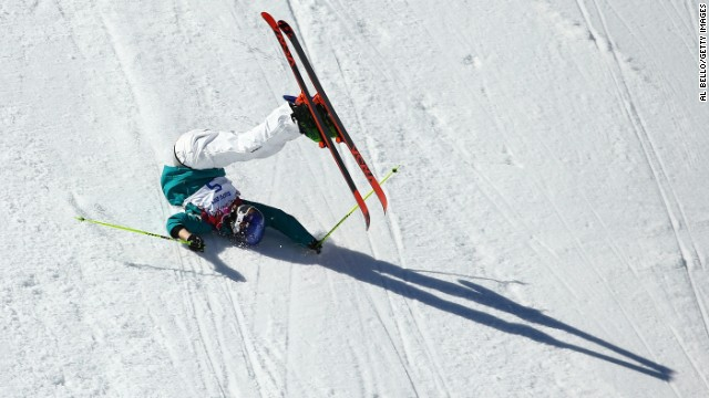 Russell Henshaw of Australia crashes out in the men's slopestyle finals on February 13.