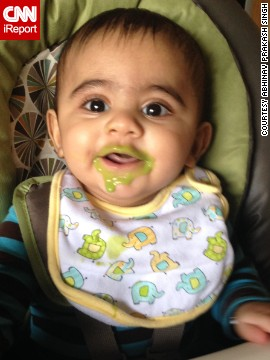 """Eat your peas! They aren't as bad as they say."" -- Rishaan Singh, age 6 months"
