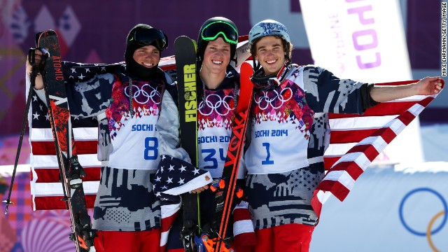 The U.S. cruised through the skiing competition, claiming all three medals -- just the third American clean sweep of an event in the history of the Winter Games.