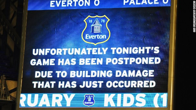 The wild weather sweeping Britain caused the postponement of Everton's league game with Crystal Palace.