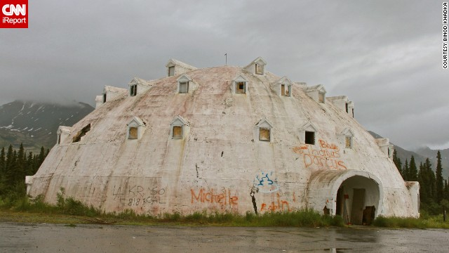 """Binod Khadka was fascinated by this abandoned igloo in Cantwell, Alaska. """"It was built in the 1970s and was meant to be a hotel,"""" he said. """"Now it is a fascinating attraction for the passing motorist."""""""