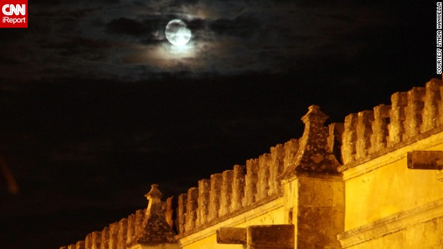 The moon glows above Cordoba's alcazar, or castle. Lynda Hanwella says Cordoba was a highlight of her trip to Spain and Portugal. See more of her photos on <a href='http://ireport.cnn.com/docs/DOC-1069289'>CNN iReport</a>.
