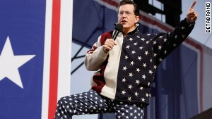 Stephen Colbert has worn Betabrand\'s starry USA pants. Made with real bits of bald eagle.