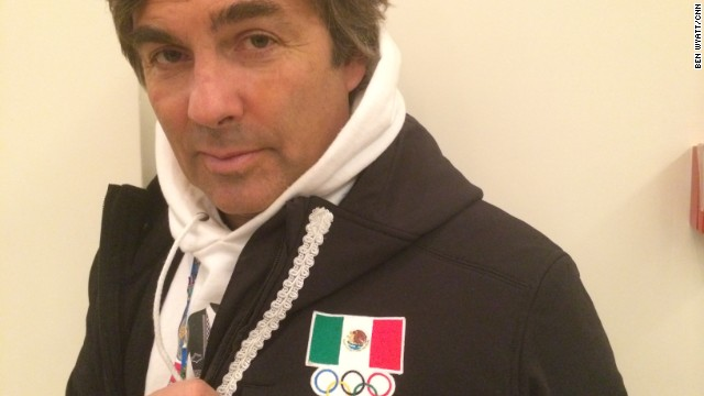 Von Hohenlohe poses in his distinctive mariachi skiing costume. The 55-year-old is the oldest athlete competing at the Winter Games in sub-tropical Sochi.