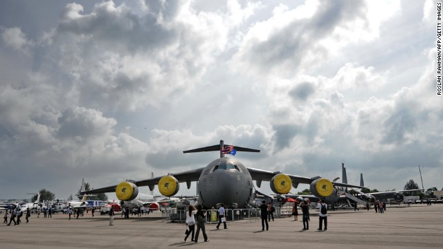 A USAF C-17 Globemaster III is presented on Friday, February 14, at the Singapore Airshow. The air show takes place from February 11-16.