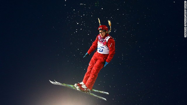 Freestyle skier Alexandra Orlova of Russia competes in the women's aerials February 14.