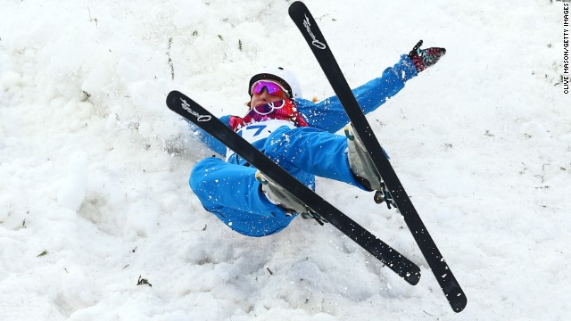 Hanna Huskova of Belarus crashes out in women's aerials.