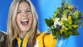 Australia's silver medalist Torah Bright celebrates during the Women's Snowboard Halfpipe Medal Ceremony at the Sochi medals plaza during the Sochi Winter Olympics on February 13, 2014.