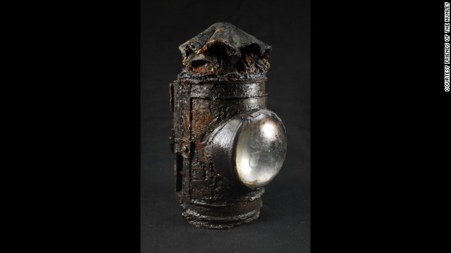 Experts believe this lantern was used as a flashlight by the submarine's commander.