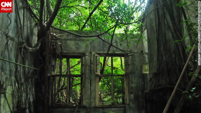 <a href='http://ireport.cnn.com/docs/DOC-1079018'>Erin Jackson</a> shared photos her parents took while visiting the abandoned British Royal Naval Dockyard on Ireland Island in Bermuda back in January 2014. This is a photo of a dockyard school now overgrown with trees. <!-- --><!-- --> </br></br> Click the double arrow to see more photos.