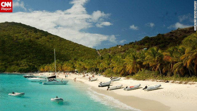 "Travel writer <a href='http://ireport.cnn.com/docs/DOC-1082827 '>Karen Elowitt</a> was living on St. John, U.S. Virgin Islands, last year and took a day trip to several of the smaller British Virgin Islands. Her group stopped at Jost Van Dyke's White Bay Beach and hung out at the Soggy Dollar Bar, ""so named because you have to swim from your boat to the beach."" Rough life."