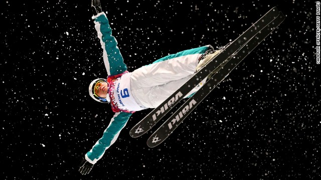 Danielle Scott of Australia practices February 14 ahead of the finals for the women's aerials.