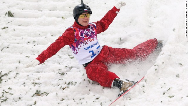 Assoli Slivets of Belarus crashes in the women's aerials on February 14.