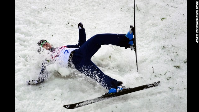 Emily Cook of the United States crashes in the women's aerials.