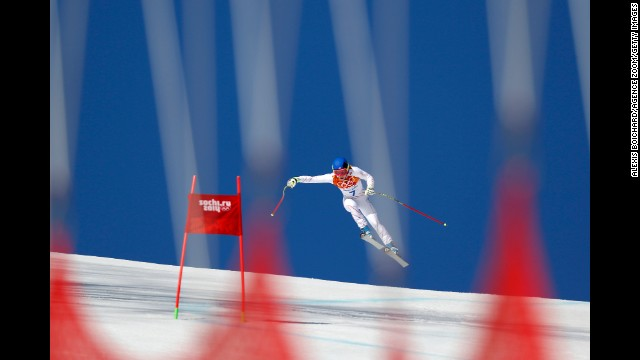 Laurenne Ross of the United States competes in the women's super-G on February 15.