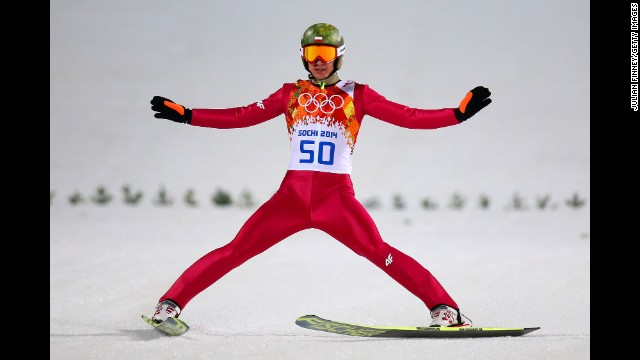 Kamil Stoch of Poland lands his jump during the men's large hill ski jumping event on February 15.