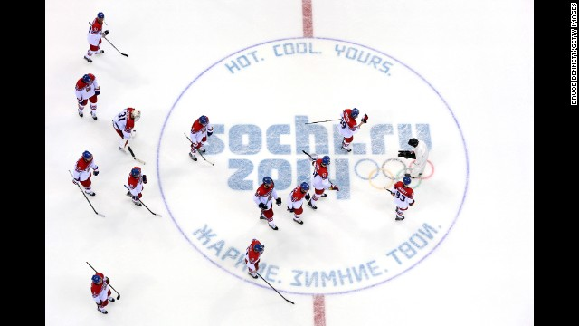 The Czech men's hockey team skates on the ice after being defeated 1-0 by Switzerland on February 15.