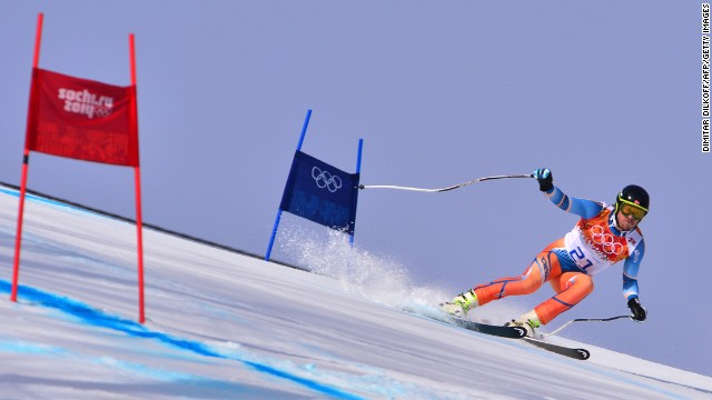 Norway's Kjetil Jansrud skis in the men's super-G on February 16.