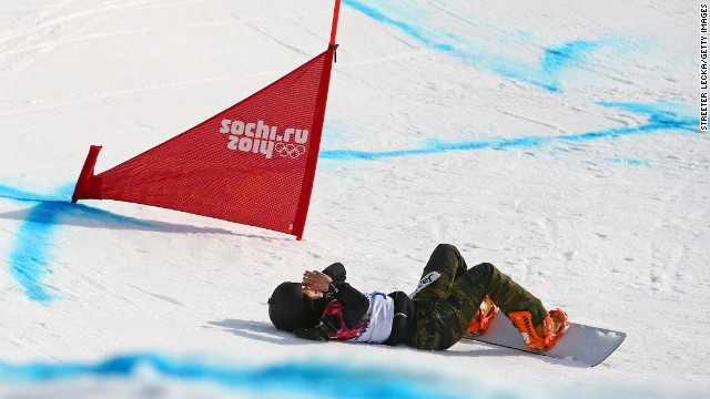 Yuka Fujimori of Japan falls during the women's snowboard cross on February 16.