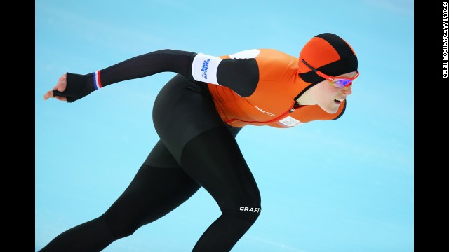Jorien ter Mors of the Netherlands competes in the women's 1,500-meter speedskating event on February 16.