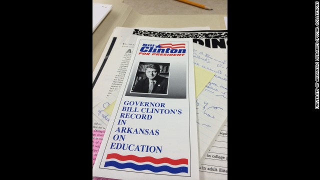 During the 1992 presidential campaign, Blair was the go-to person if questions arose about Clinton's record as Arkansas governor. This flier explains how he handled education issues in the state.