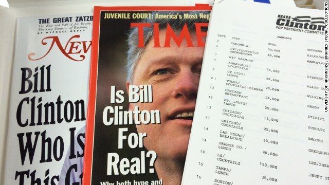 Blair also kept magazine stories on Clinton's 1992 race as well as a schedule of fund-raising goals.